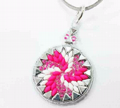 Swirl Pendant Jewellery Kit with Kheops Par Puca and SuperDuos - Neon Pink, White and Silver